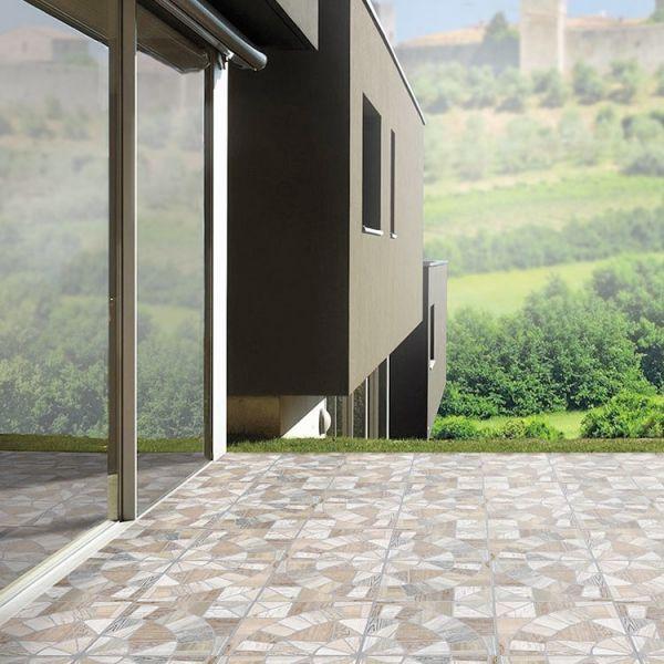 Pavimento Rosoni Da Esterno Ceramiche San Nicola Cocci Marmo Mix 34x34