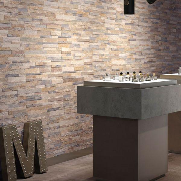 Ceramica Rondine Mattoncino Cubics Gres Porcellanato 3D Effetto Pietra Beige