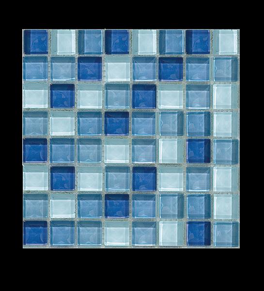 La Fenice Mosaico Mix Azzurro Blu Celeste effetto Vetro Fogli 30x30 cm